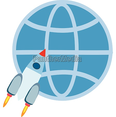 flying white rocket in front of