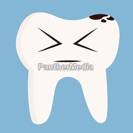 cartoon of a sick tooth vector