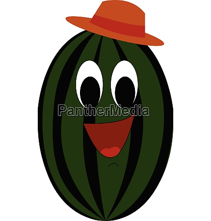 cartoon of a smiling water melon