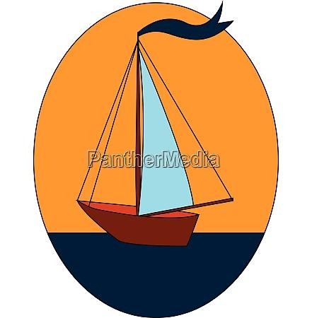 sailnig boat with blue flag on