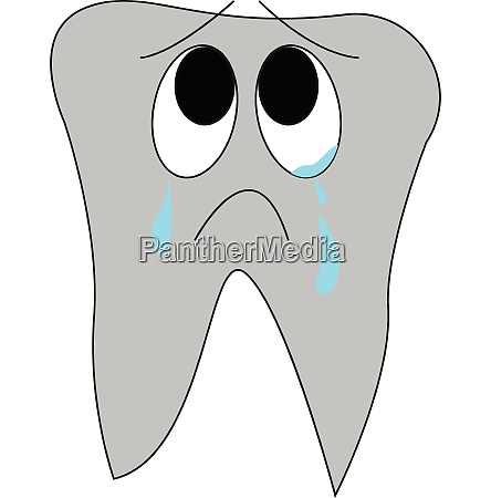 cartoon of a crying tooth vector
