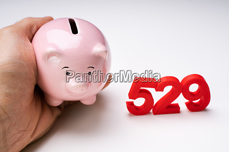 human hand holding piggy bank near
