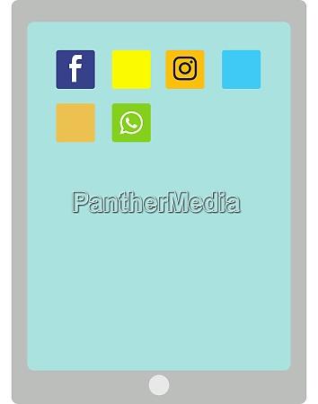 ipad illustration vector on white background