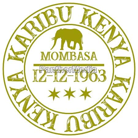 stamp with inscription hello kenya jambo