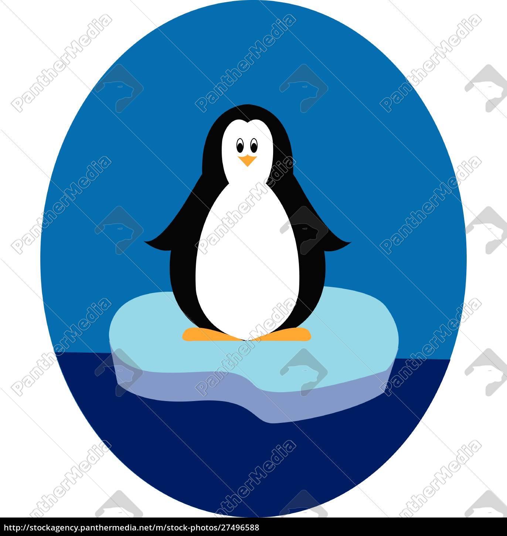 penguin, standing, on, iceberg, illustration, vector - 27496588