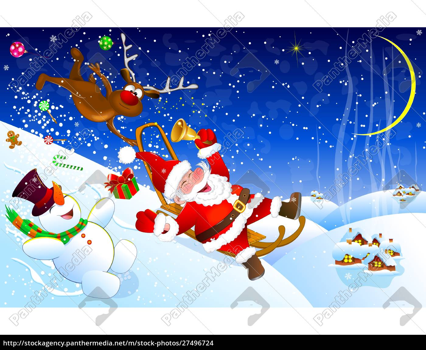 santa, descends, from, the, mountain, on - 27496724