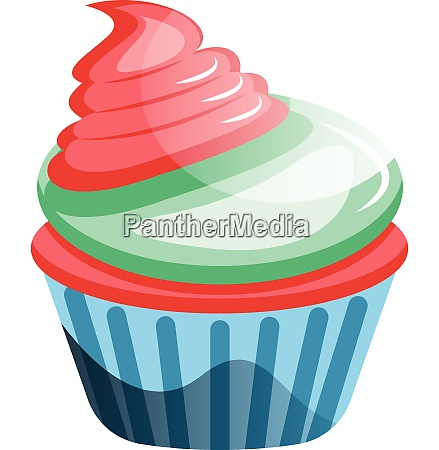 red velvet cupcake with colorful frosting