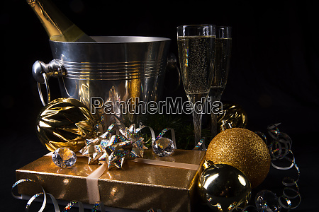 new year sparkling wine candles happy