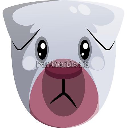 sad white cartoon dog vector illustartion
