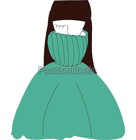 a girl wearing a blue sweater