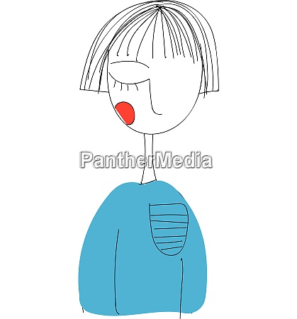 girl wearing light blue sweater with