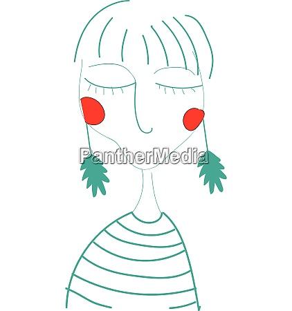 girl wearing green long earrings looks