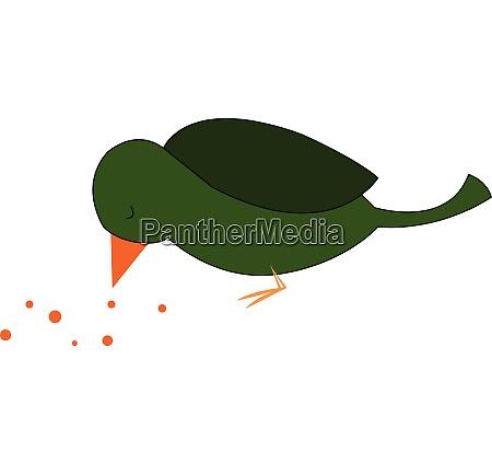 a green bird eating seeds looks