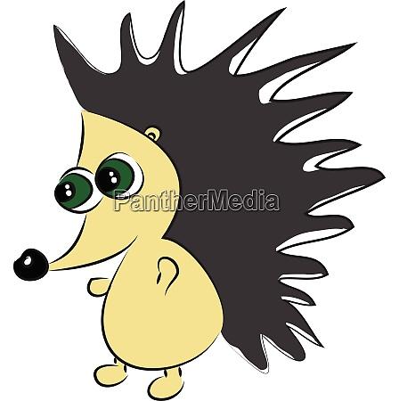 the walking green eyed hedgehog vector