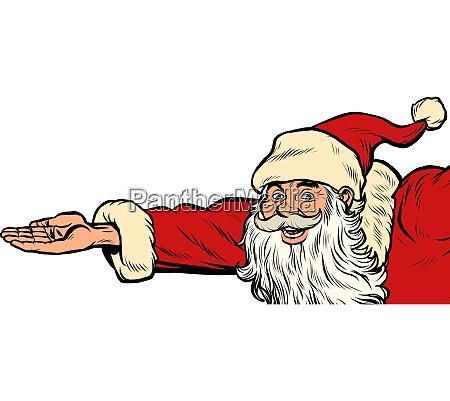 santa claus hand presents christmas and