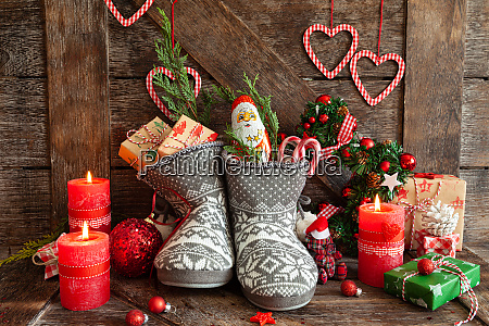 boots with little presents and candy