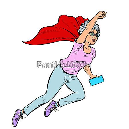 superhero flying active strong woman grandmother