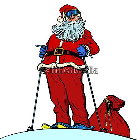 skier santa claus character merry christmas