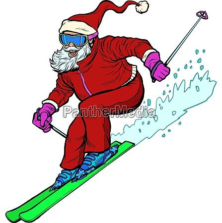 santa claus character goes skiing merry