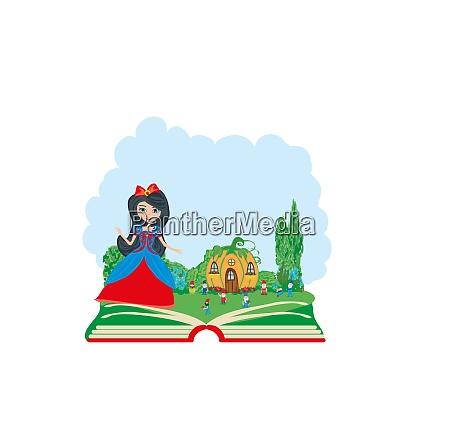 open book illustration fairy tale snow