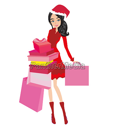 beautiful elegant girl on christmas shopping