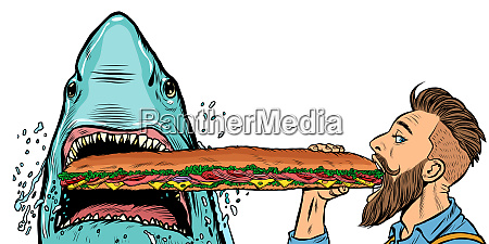 shark and man eating fast food