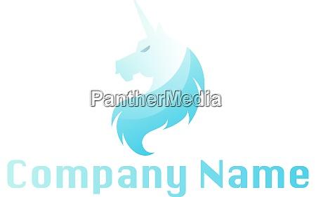 light blue unicorn head above blank
