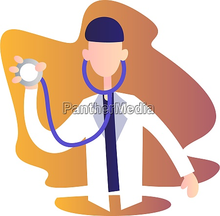 male doctor holding stetoscope vector character