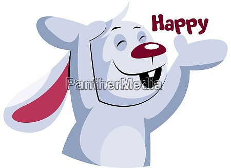 happy white rabbit vector illustration on
