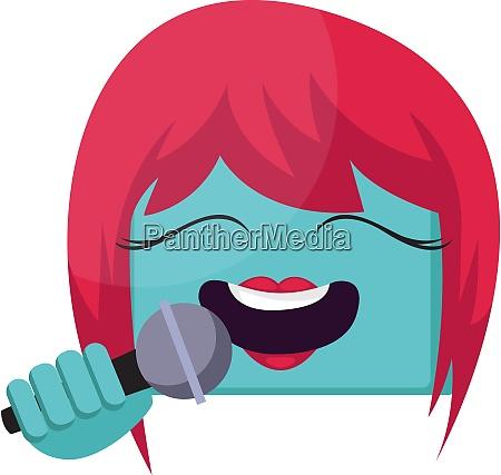 square blue female emoji face with