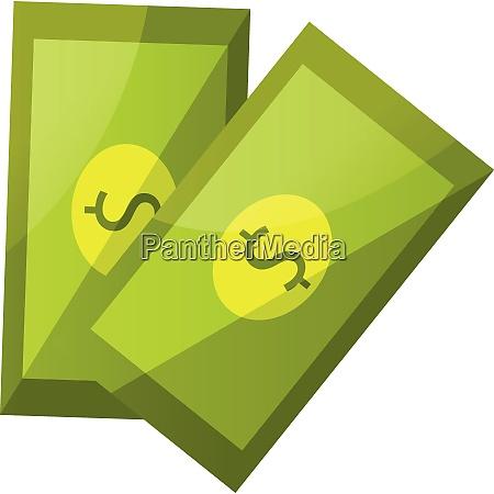 two dollar bills vector illustration on