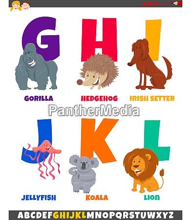 cartoon alphabet set with cute animal