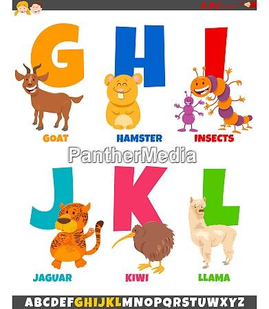 cartoon alphabet set with funny animal