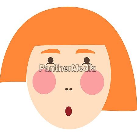 red head girl illustration vector on