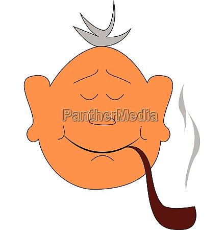 smoking man illustration vector on white