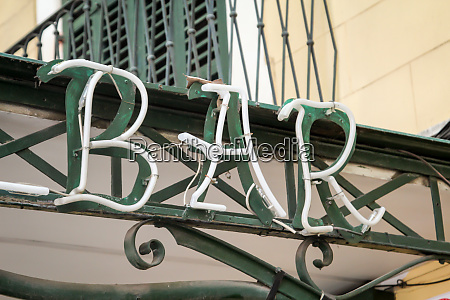 the old neon sign of a