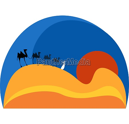 camels at sunset vector or color