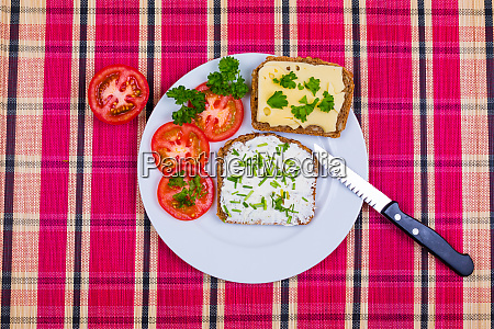 bread with tomatoes and cheese