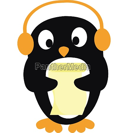 cute little penguin listening to music