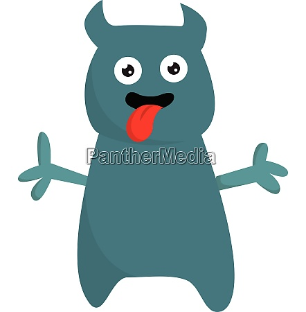 cartoon funny monster with tongue hanging