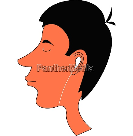 cartoon skinny boy with earphones set