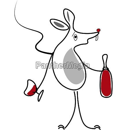line art of a drunk rat