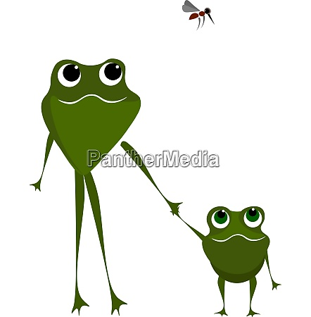 two frogs walking holding their hands