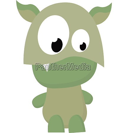 cartoon funny green monster with a
