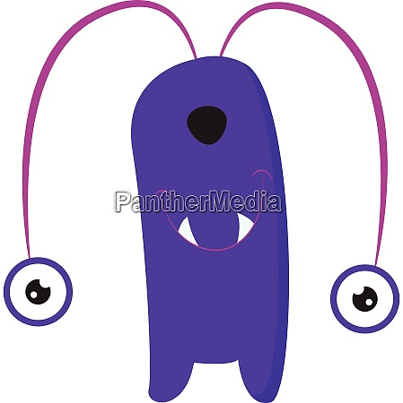 cartoon funny purple monster with two