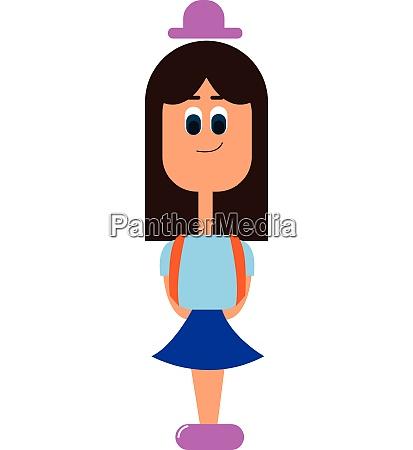 a small girl in school uniform