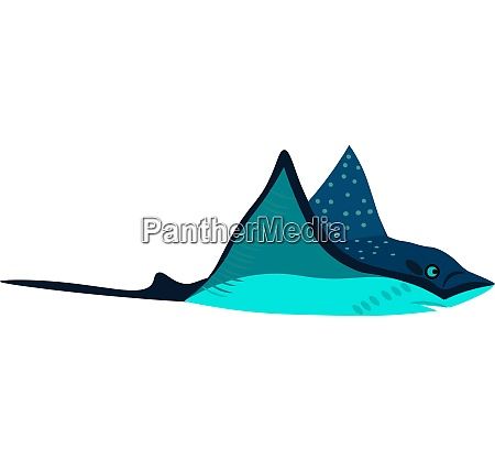 clipart of a blue colored stingray