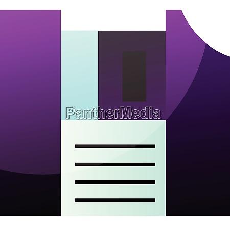 purple floppy disk simple vector illustration