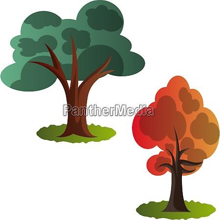 two autumn tree vector illustration on