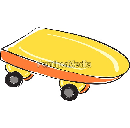 yellow skateboard vector or color illustration